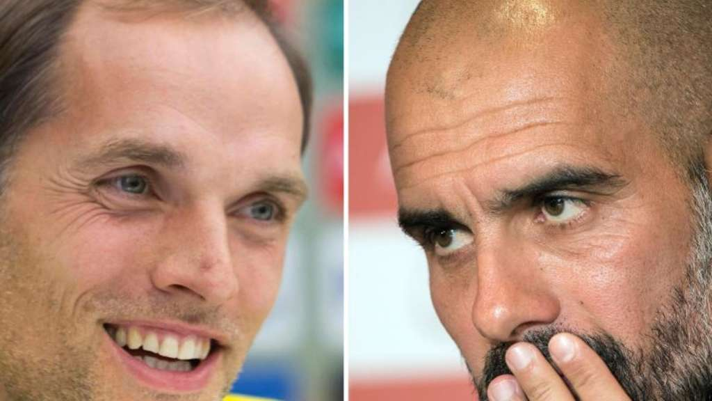 Duell der Top-Trainer: Dortmunds Thomas Tuchel (l) und Bayerns Pep Guardiola. Fotos: Sotiris Barbarousis/Peter Kneffel Foto: Sotiris Barbarousis