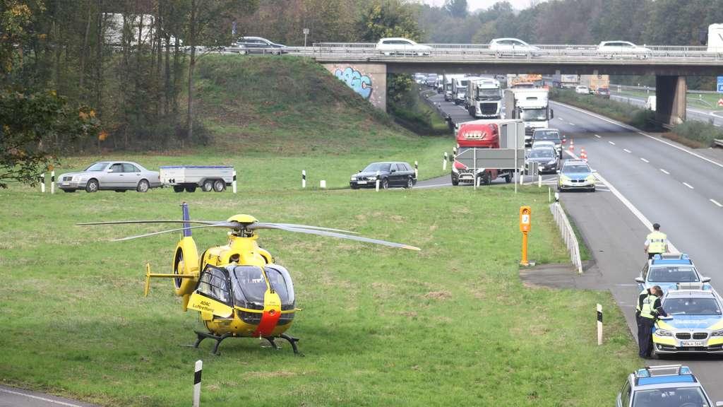 Lkw-Unfall auf der A1 in Höhe Ascheberg