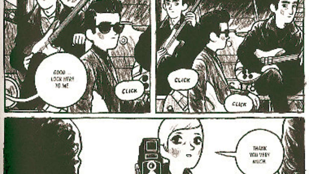 "Wie fotografiert man Beatles: Bilder aus Arne Bellstorfs Graphic Novel ""Baby's in Black"". Die Fotografin ist Astrid Kirchherr, ihr Verlobten Stuart Sutcliffe trägt Brille. ▪"
