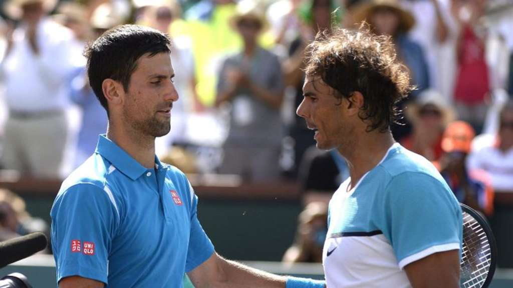 Novak Djokovic (l) besiegte Rafael Nadal in Indian Wells. Foto: Mike Nelson