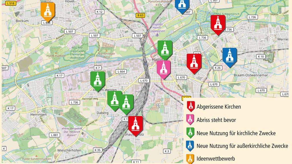 Hamm Karte.In Der Stadt Hamm Werden Immer Mehr Kirchen Abgerissen Karte