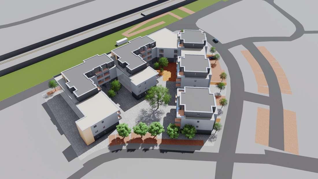 So sieht das Modell von MD-Projekt aus nordöstlicher Richtung aus; im Hintergrund verlaufen die Bahngleise und die Ladestraße, rechts die Starenschleife.