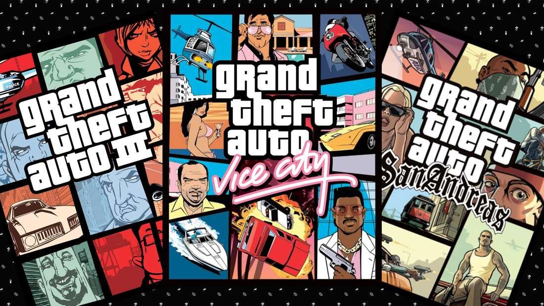 Die Cover von GTA 3, Vice City und San Andreas nebeneinander